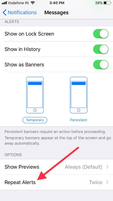 Tap Repeat Alerts on iPhone or iPad