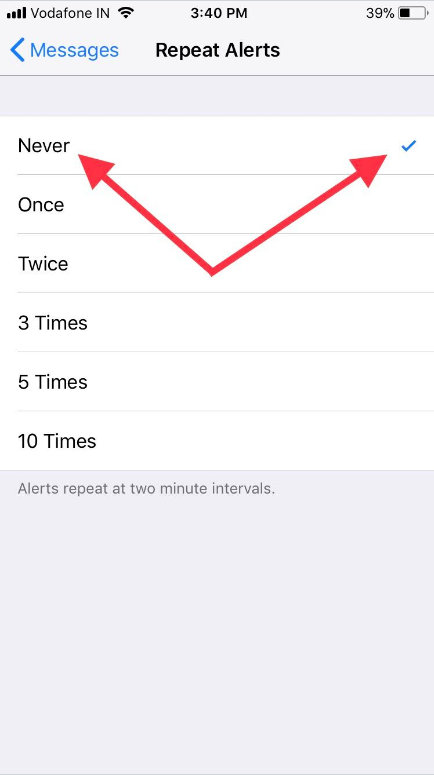Tap never to turn off repeat text message alerts on iPhone or iPad