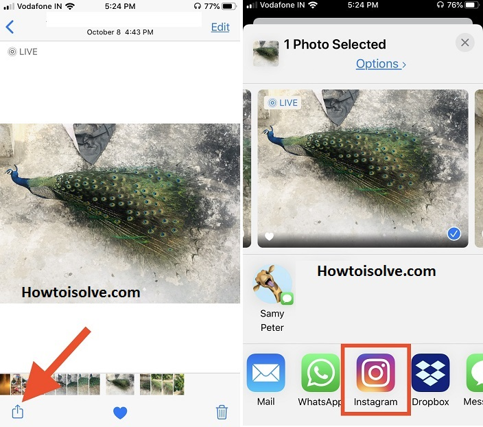 Tap share button and tap Instagram app to post a live photo on Instagram from Apple iPhone