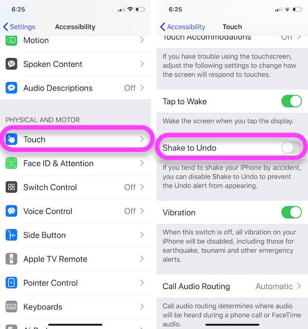 Turn off Shake to undo on iPhone