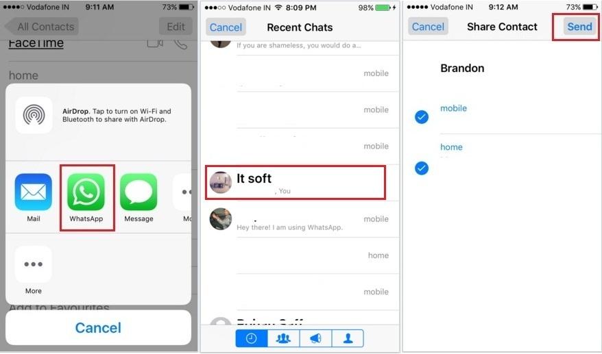 Share iPhone 6, iPhone 6S Plus, iPhone 6S, iPad Air, iPad Mini contact with Whatsapp app