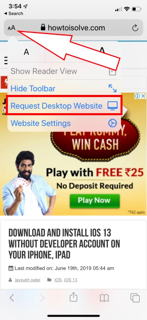 request desktop site in iOS 13