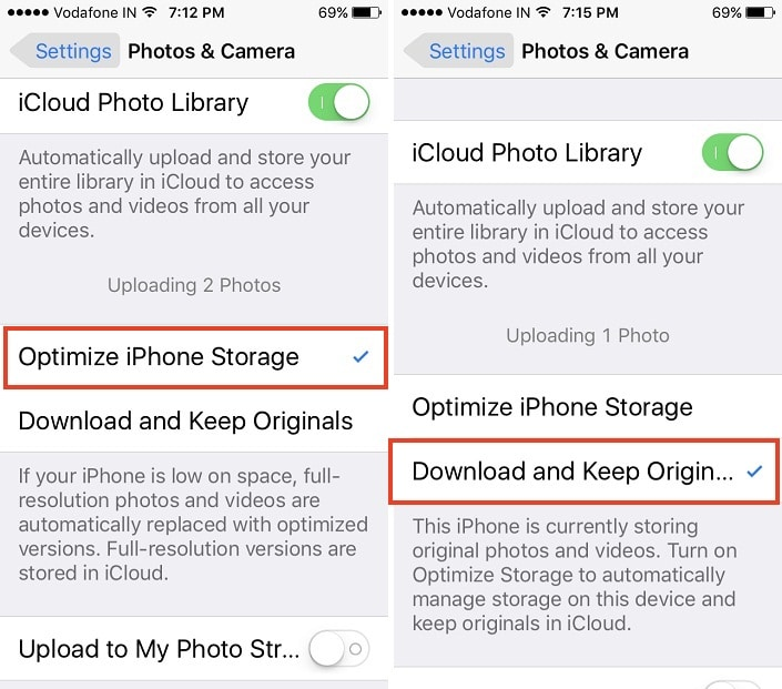 2 Optimize Storage space from Video and Photo k