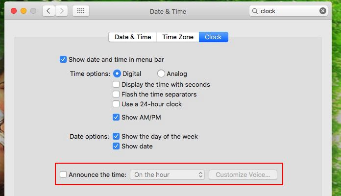 Turn off time annoucement for Mute clock voice on Mac