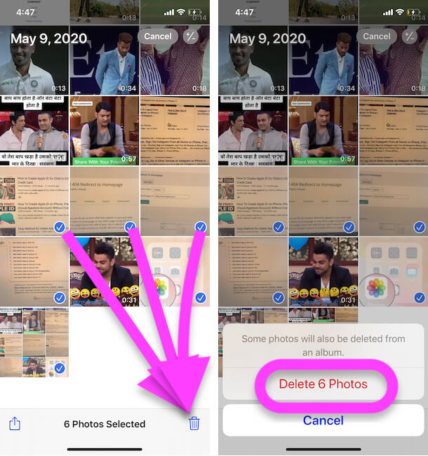 Select Multiple Photos and Delete from iPhone Photos app