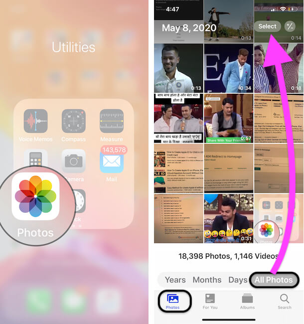 Select Multiple Photos from iPhone Photos app