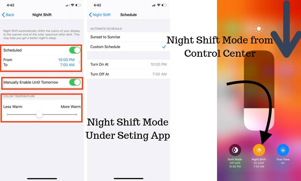 Turn off or Enable Night Shift mode on iPhone and iPad