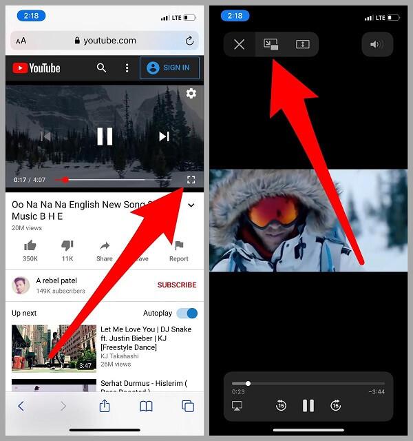 Youtube video in full screen mode on iPhone iPad Safari app
