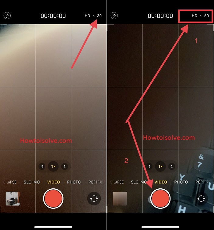 change the video resolution with-in the camera app
