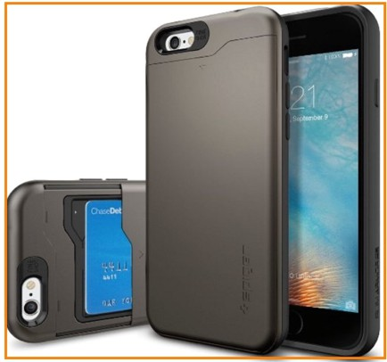 Hard iPhone 6 case with card holder