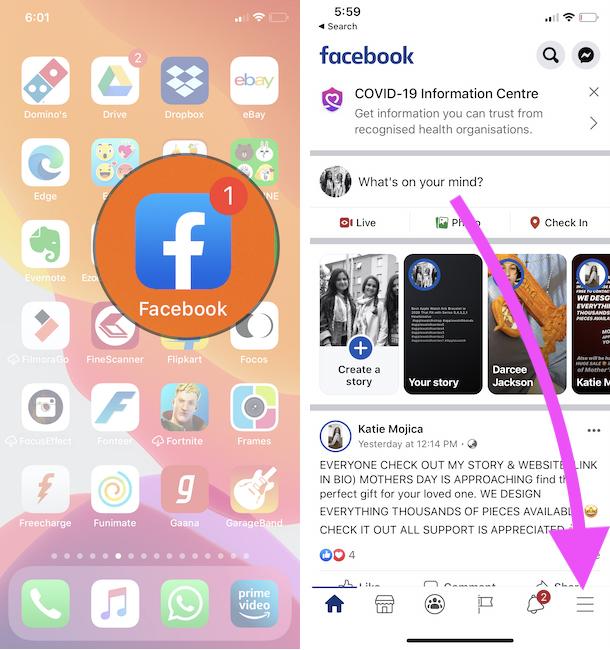 Facebook Account info on iPhone Facebook App