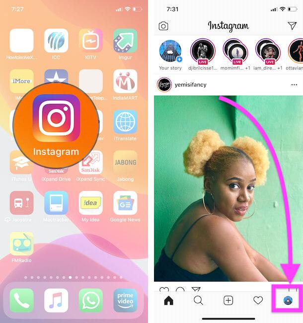 Instagram Profile on iPhone instagram app