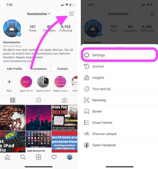Instagram profile settings on iPhone instagram app