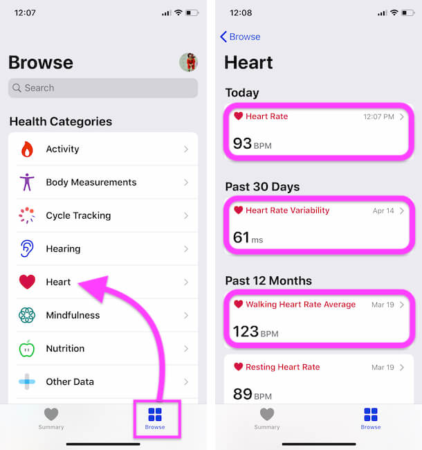 Know Heart Rate in BPM on iPhone Health App