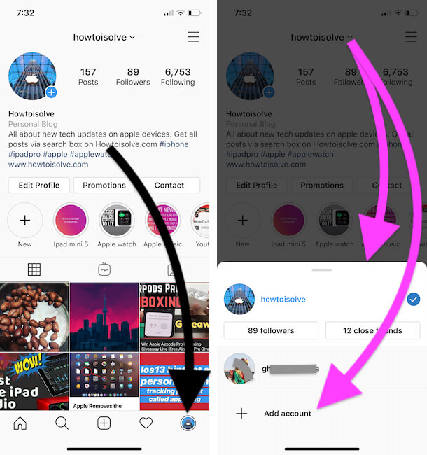 Quickly Switch or Add New Instagram account on iPhone app