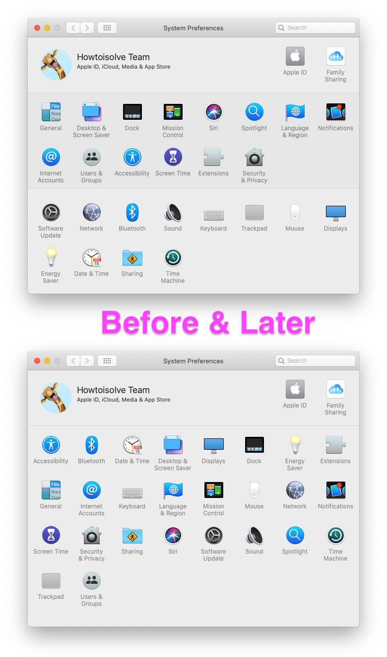 Re-arrange icon On System Preference MacBook