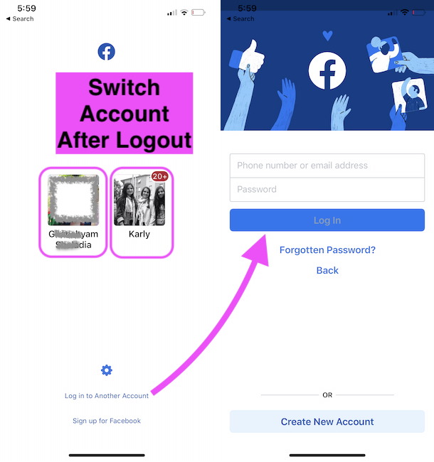 Switch Facebook Account or Add a New Facebook account on iPhone