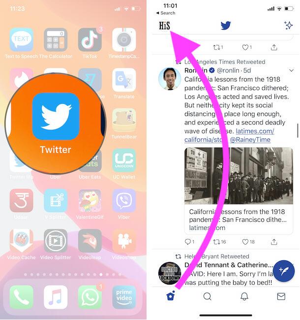 Tap on Twitter Profile on iPhone Twitter app
