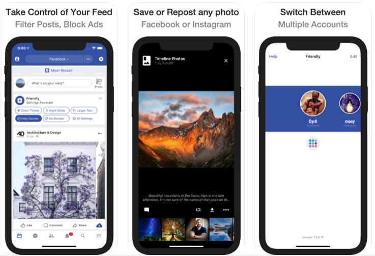 Third-Party App = Friendly Plus for Facebook for Switch FB account and Repost