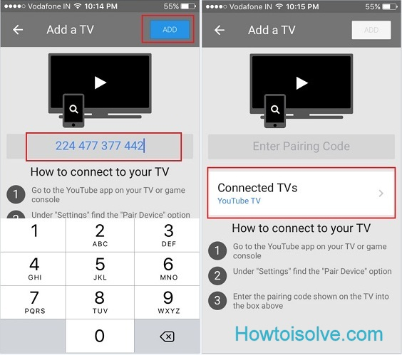 enter pairing code on iPhone from TV
