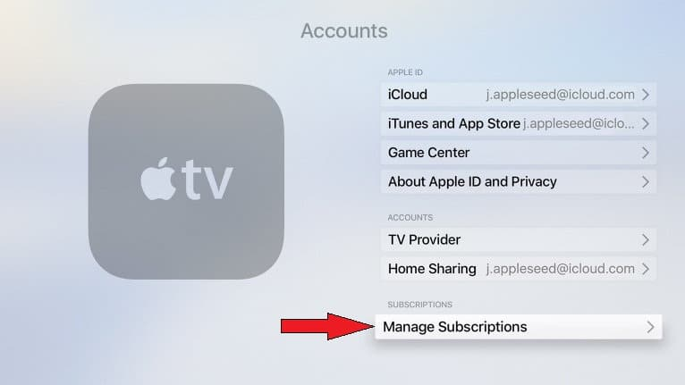 how to Manage Subscriptions or cancle on Apple TV 4