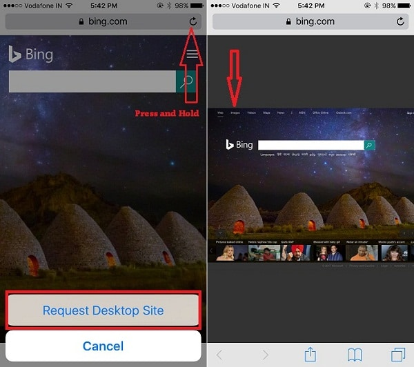 1 Convert Bing mobile view to Desktop view on iPhone