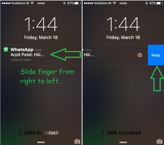 Reply whatsapp lock screen iPhone, iPad and iPod Touch