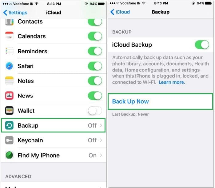 Backup all voicemails to iCloud account