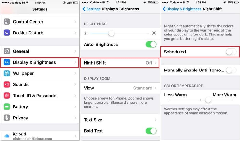 Night shift turn on automatically on iPhone SE