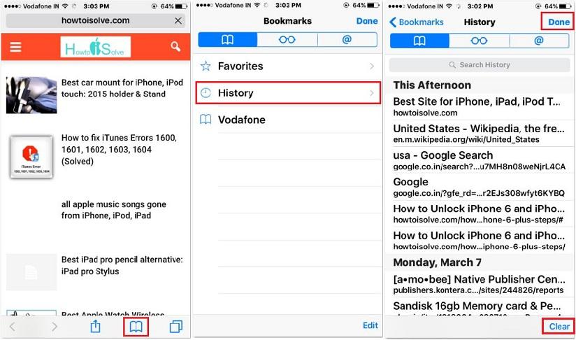 remove safari history from iPhone, iPad