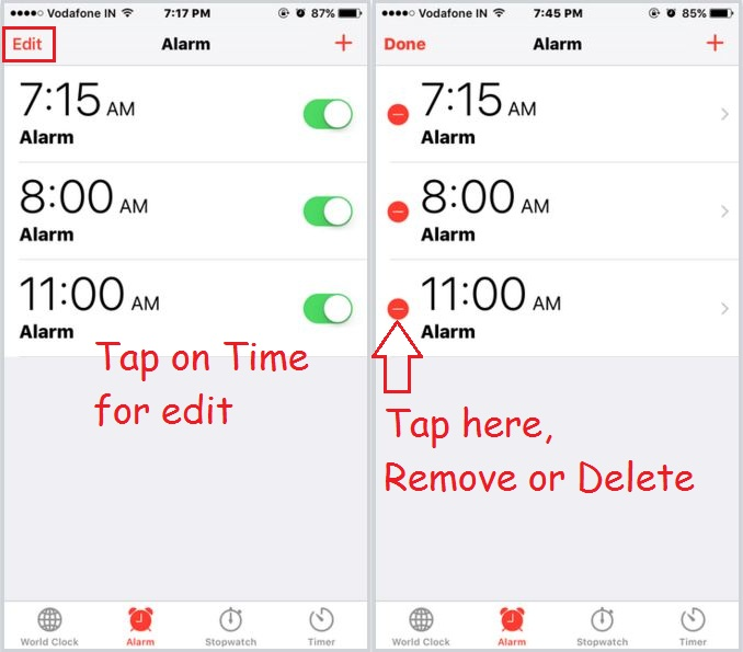 All Alarm times saved in clock app