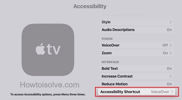 turn on Accessibility Shortcut on Apple TV 4