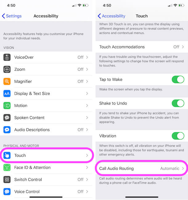 Call Audio Routing Settings on iPhone