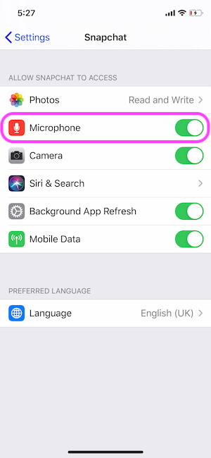 Enable Microphone access fron iPhone settings