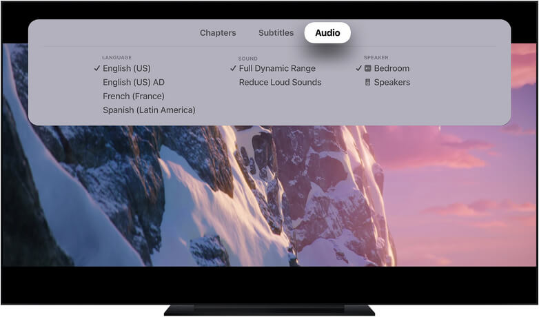 On Screen Apple TV Audio and Caption Settings