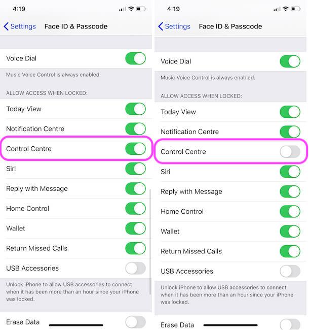Turn off Control Center on iPhone lock screen