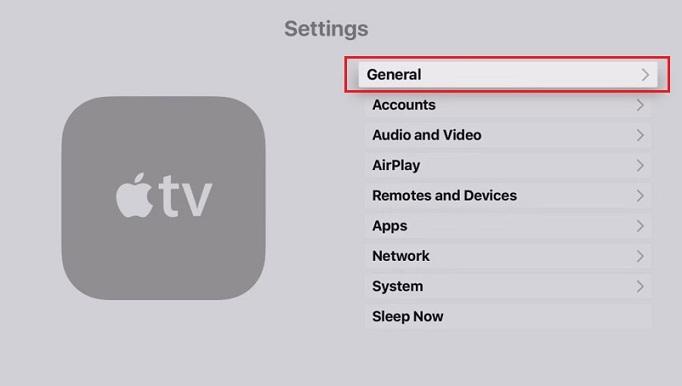 Choose General tab Apple TV 4