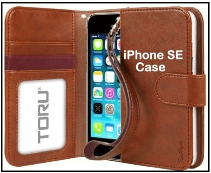 iPhone SE credit card holder leather case and Wrist strap