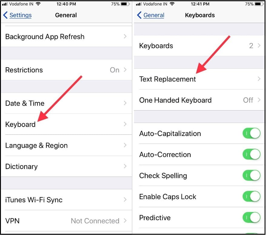 tap keybaord and tap on text replacement in iOS to add iOS keyboard shortcuts