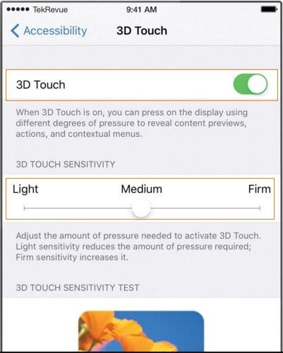 3D Touch settings on iPhone 6S
