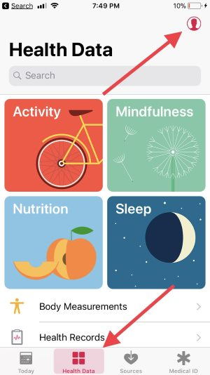 1 Find profile on health app on iPhone