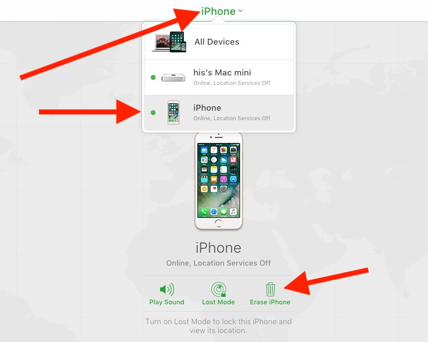 1 remotely remove iPhone activation on iCloud.com