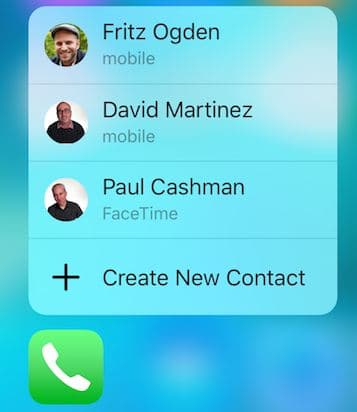 Contact app with 3D touch popup