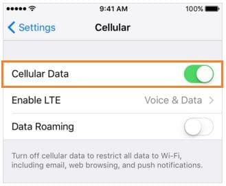 Enable Cellular data in iOS 9