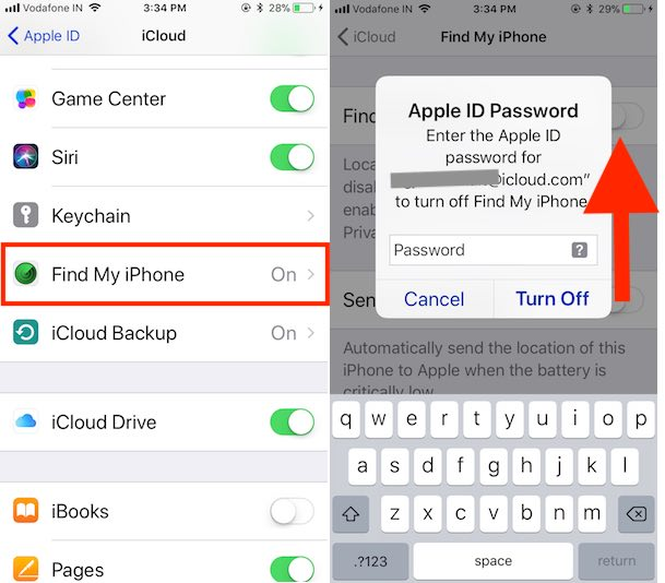4 Find My iPhone Disable from Settings