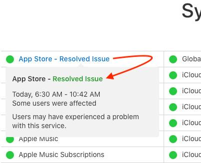 Apple System Server Status after Resolved