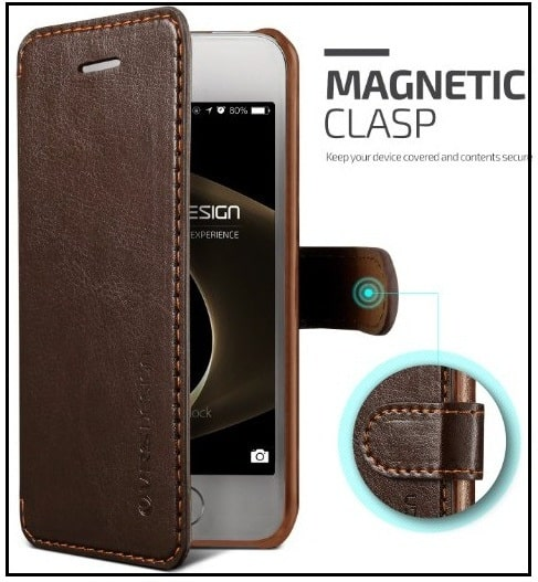 iPhone SE leather Folio Case with Credit Card holder