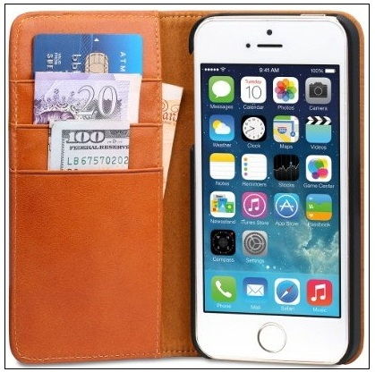 Good iPhone SE leather Wallet Flip stand case