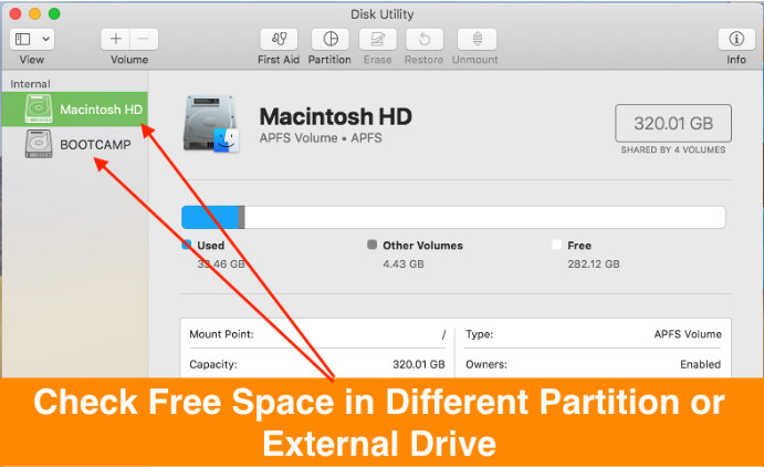 Check External disc or USB Drive Storage Space on Mac Using Disk Utility