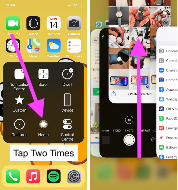 Close App using Touch Button not Physical Home button